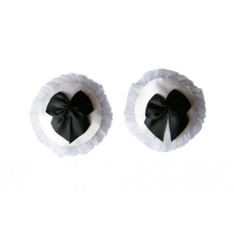 Sextoys, sexshop, loveshop, lingerie sexy : Nippies Cache Seins : Cache tétons nippies blanc avec petits nœuds noir