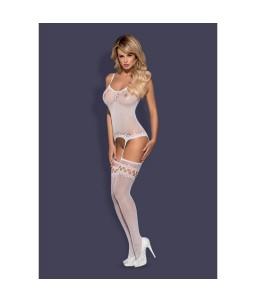 Sextoys, sexshop, loveshop, lingerie sexy : Combinaisons : Obsessive - Combinaison blanche sexy résille F214