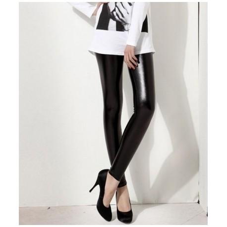 Sextoys, sexshop, loveshop, lingerie sexy : Leggings & Tops : Legging slim Noir en style Vinyle