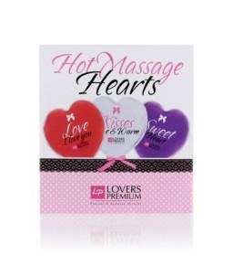Sextoys, sexshop, loveshop, lingerie sexy : Huiles de Massage : Lot de 3 Coeurs de Massage Chauffant