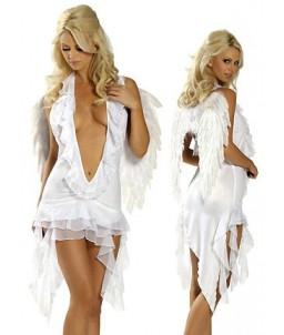 Sextoys, sexshop, loveshop, lingerie sexy : Deguisement Femme sexy : Costume Robe Décolletée avec Ailes Sexy Ange Blanc
