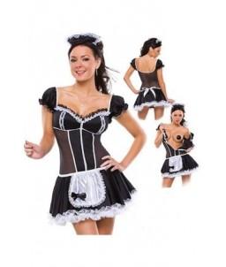 Sextoys, sexshop, loveshop, lingerie sexy : Deguisement Femme sexy : Costume Sexy French Soubrette - ouverture ventrale