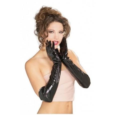 Sextoys, sexshop, loveshop, lingerie sexy : gants sexy : Gants Style Vinyle Noir Longs