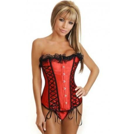 """Sextoys, sexshop, loveshop, lingerie sexy : Bustiers et Corsets : Corset bustier satin rouge dentelle et ruban noir Sexy \\""""M\\"""""""