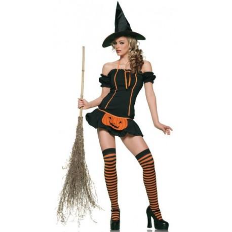 Sextoys, sexshop, loveshop, lingerie sexy : Deguisement Femme sexy : Costume Sorcière avec robe courte Halloween
