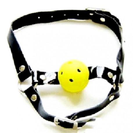 Sextoys, sexshop, loveshop, lingerie sexy : Baillons : Baillon Boule jaune et collier en Cuir Noir