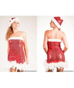 Sextoys, sexshop, loveshop, lingerie sexy : Deguisement noel sexy : Costume Robe de Noël Sexy Rouge et Blanc