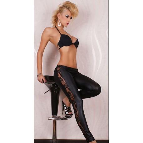 Sextoys, sexshop, loveshop, lingerie sexy : Leggings & Tops : Leggings Noir Sexy Style Cuir & Dentelle